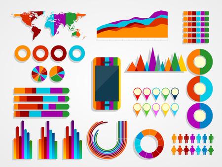 graficas de pastel: ilustración vectorial de Infografía Elementos Colección Vectores