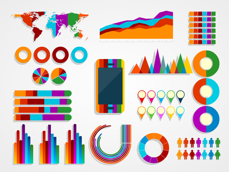 graphs and charts: vector illustration of Infographic Elements Collection