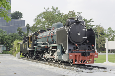 stovepipe hat: Old Steam train,Thailand Editorial