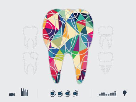cavity braces: illustration of colourful dental