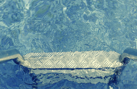 swimming pool in tropical area - vintage filter