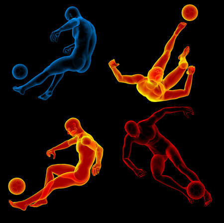 kicking ball: 3d rendering illustration of the human kicking ball