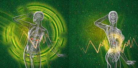 suprarrenales: 3d rendering medical illustration of the human adrenal glands Foto de archivo