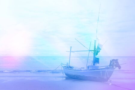 beach and fishing boat for background design concept Standard-Bild
