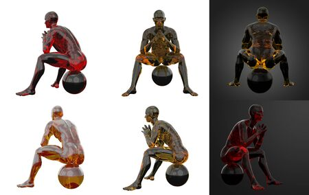 3d rendering illustration of sit human collection