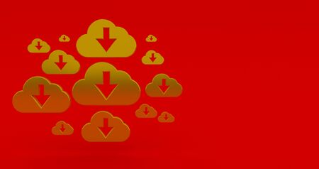 3d rendering illustration of gold cloud on red background