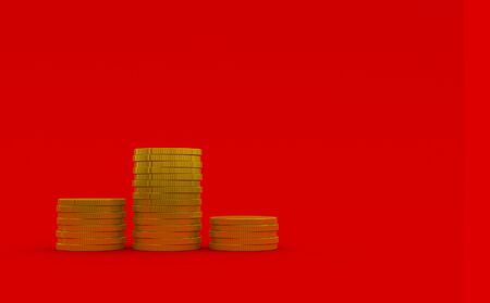 3d rendering illustration of coin on red background