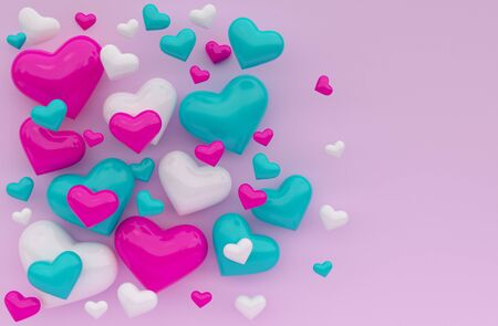 3d rendering illustartion of color heart on pink background