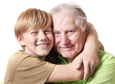grandfather with boy  isolated on white Stock Photo