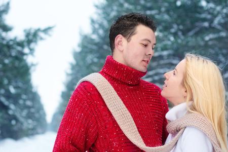 couple winter: couple in winter park