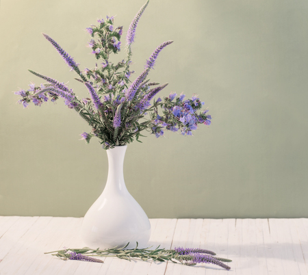 wild silky white: blue flowers in a vase