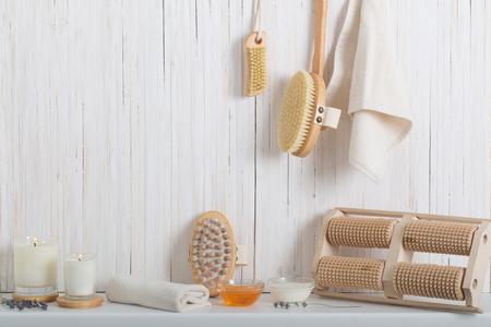 Wood massage brush on white background Standard-Bild