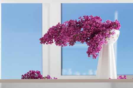 The beautiful lilac on  background window