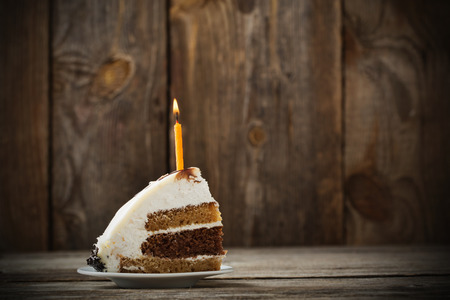 Birthday Cake on wooden background Stock Photo