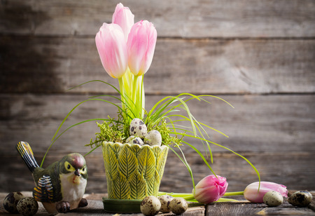 Easter decoration on old wooden background Stock Photo