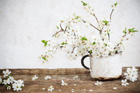 spring flowers in cup on old background