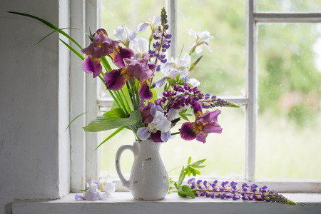 Flower Vase Sitting Inside Of Window Stock Photo Picture And