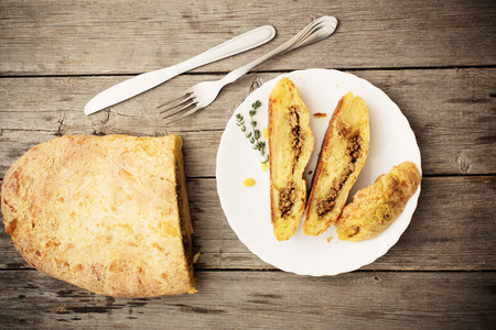 meat pie on a wooden table Stock Photo