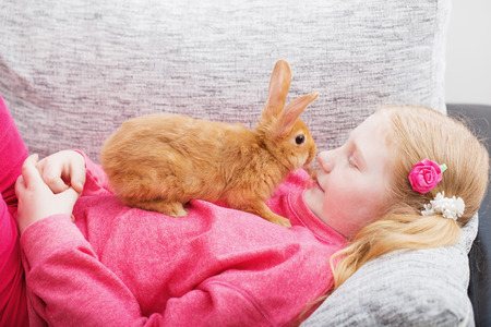 smiling girl  with  rabbit indoor