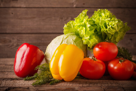 vegetables on a wooden surface