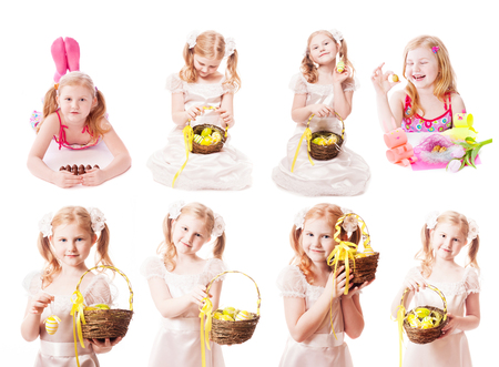 beautiful girl with Ester eggs isolated on white Stock Photo