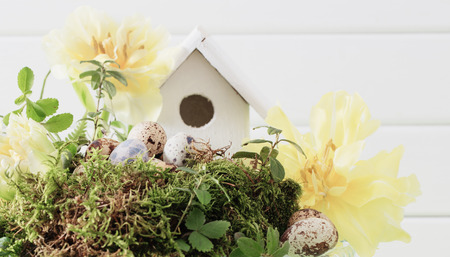 Easter decoration on wooden background Stock Photo