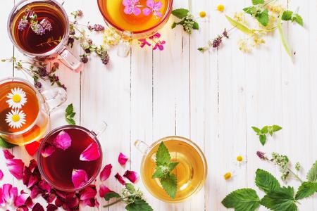 herbal tea on a white wooden background Stockfoto