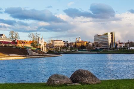 MINSK, BELARUS - APRIL 22, 2017:  Historical Center (Nemiga) View with Svisloch River. Minsk, Belarus