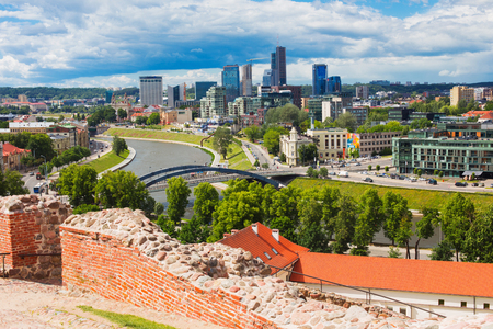 VILNIUS, LITHUANIA - JUNE 21, 2017: View of River Neris and City high-rise buildings on right bank