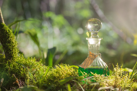 elixir: Poción mágica en botella en el bosque