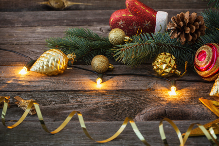 Christmas toys on old wooden background
