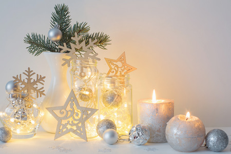 Christmas Decoration With Candles On Background White Wall Stock ...