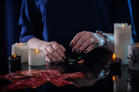 divination with cards and candles Banco de Imagens