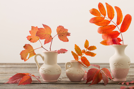 autumn leaves in vase on wooden table Stock Photo