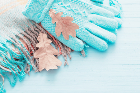 blue gloves and autumn leaves on wooden background Фото со стока