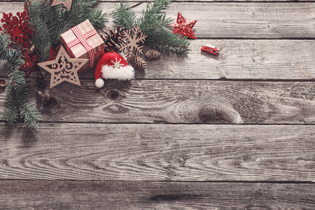 Christmas composition on old wooden background