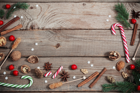 Christmas decorations on old wooden background Stock Photo