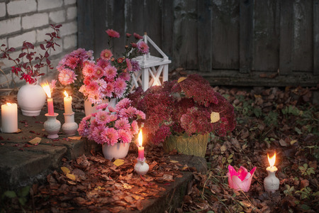 pink chrysanthemums with burning candles in the autumn garden Reklamní fotografie