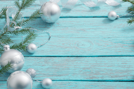 Christmas decoration on blue wooden background