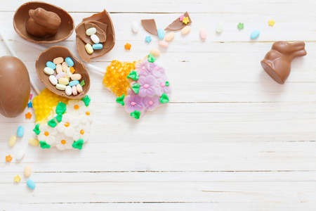 Easter Eggs Over Blue Wooden Background Stockfoto