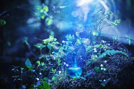 poción mágica en botella en el bosque Foto de archivo