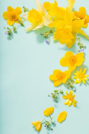 緑の背景に春の花 写真素材