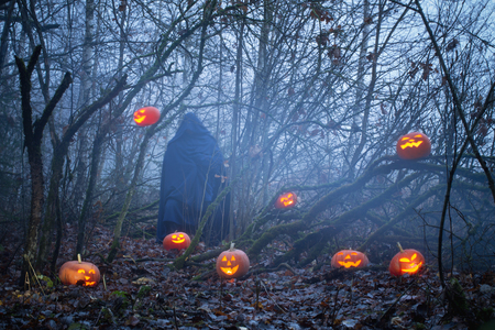 ghost with halloween pumpkins in night forest