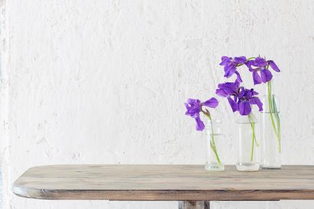 iris in vase on background white old wall 版權商用圖片