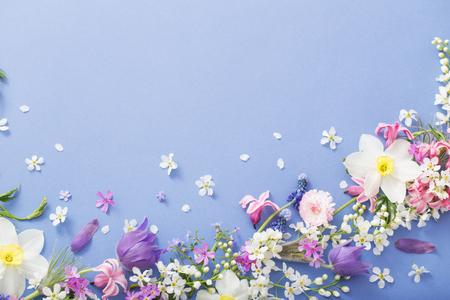 beautiful spring flowers on paper background Standard-Bild - 124556160