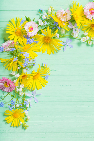 frame of beautiful flowers on green wooden background Standard-Bild - 124556184