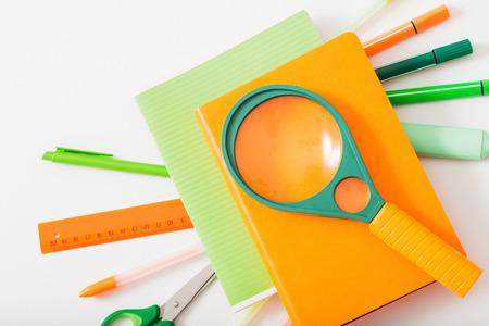 school supplies on white background Standard-Bild - 124556238