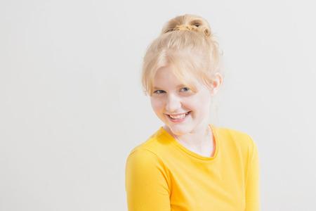 funny teen girl on white background