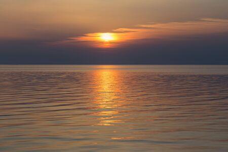 beautiful summer sunset on lake