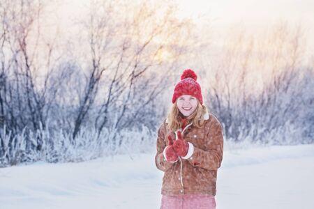beautiful teen girl outdoor in wnter